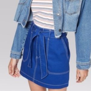 Wild Fable Blue White Front Tie Skirt